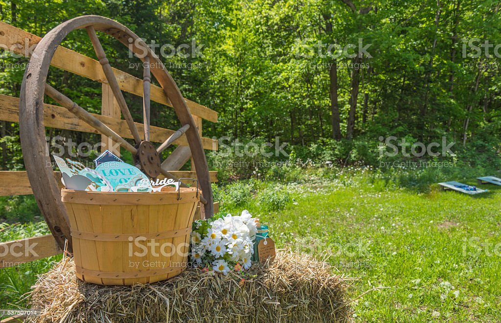Country wedding decorations in a back yard. stock photo