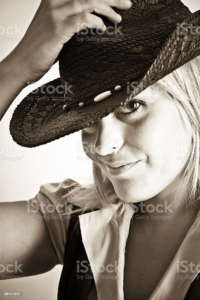 Countrygirl in sepia royalty-free stock photo