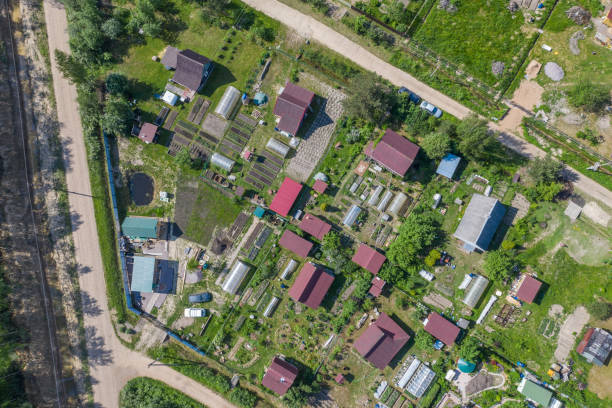 Countryside aerial view Countryside aerial view russian dacha stock pictures, royalty-free photos & images