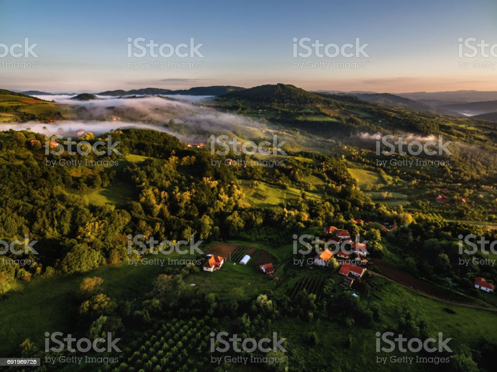 Countryside, aerial view stock photo