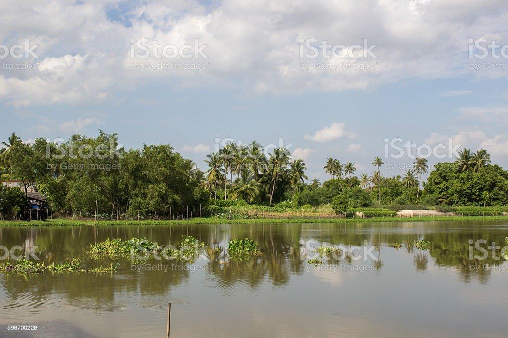 countryside along Tha Chin river(Maenam Tha Chin),Nakhon Pathom,Thailand stock photo