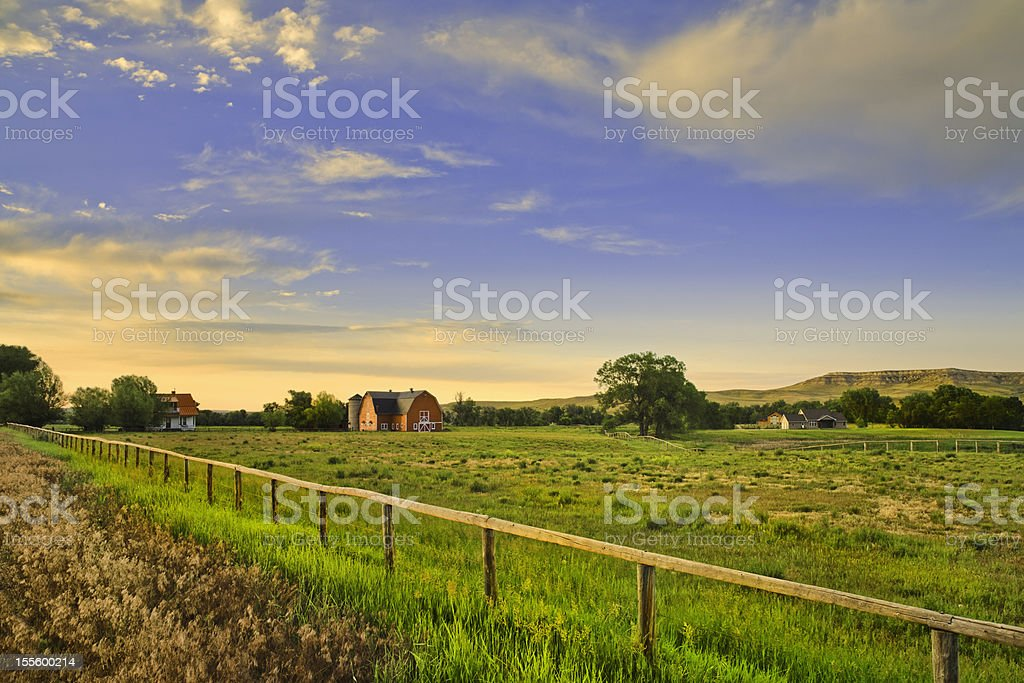 countryside and farms at sunset in rural Montana stock photo