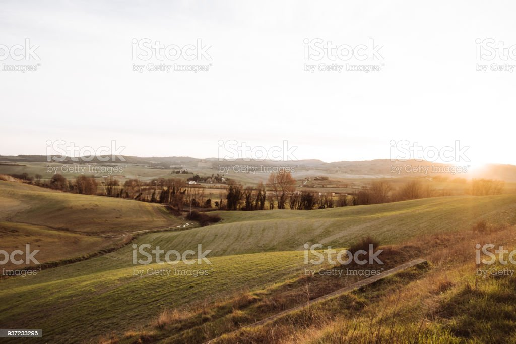 countryside at dusk stock photo
