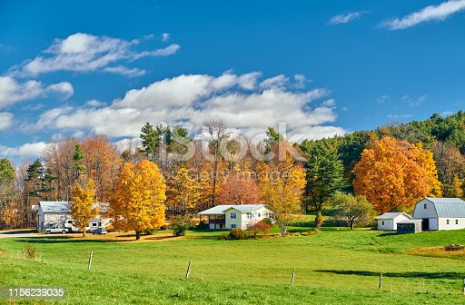 Countryside at sunny autumn day in New Hampshire, USA