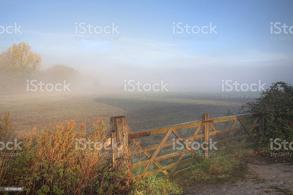 Countryside background with gate royalty-free stock photo