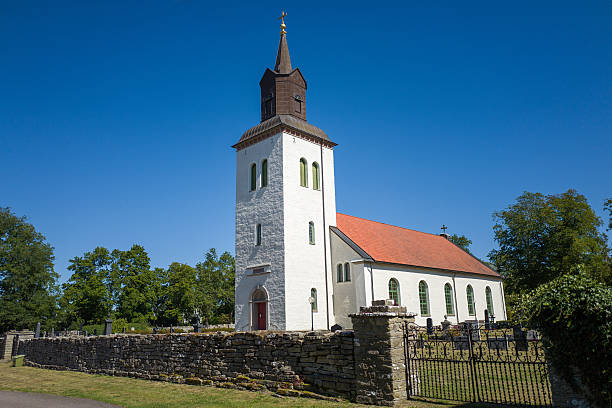 Countryside church in Sweden stock photo