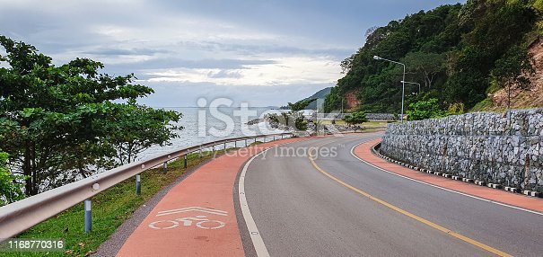 Countryside rural scene road with sea view in Chanthaburi, Thailand