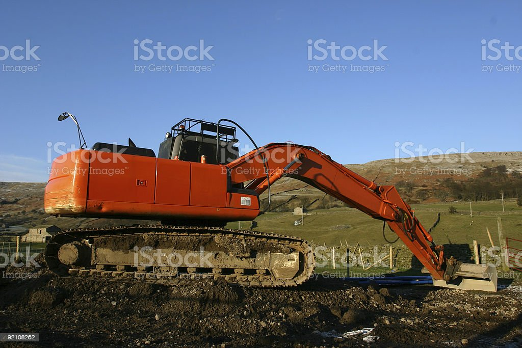 countryside farm digger machine royalty-free stock photo
