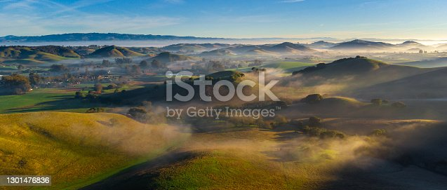 Countryside farm hills and valleys at sunrise with fog, Petaluma, California, USA