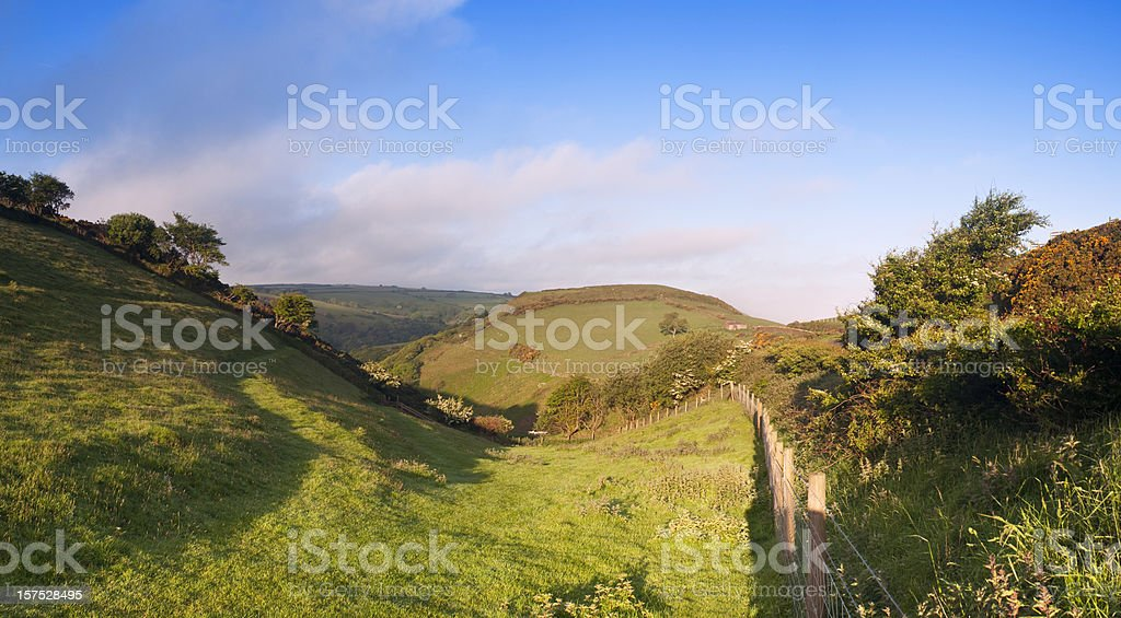 Countryside farming  scenic in spring, Exmoor, Devon. stock photo