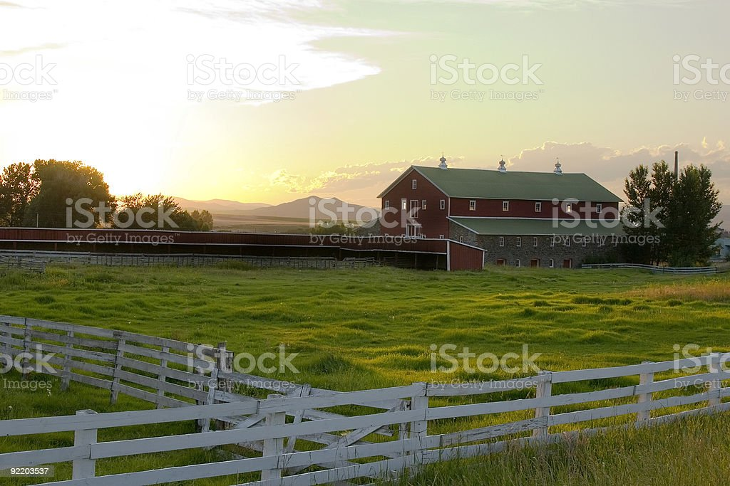 Countryside - Fence Surrounding A Ranch royalty-free stock photo