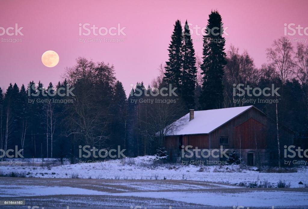 Countryside full moon scenery stock photo