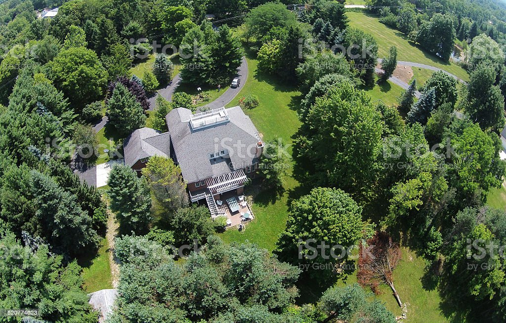 Countryside home aerial view stock photo
