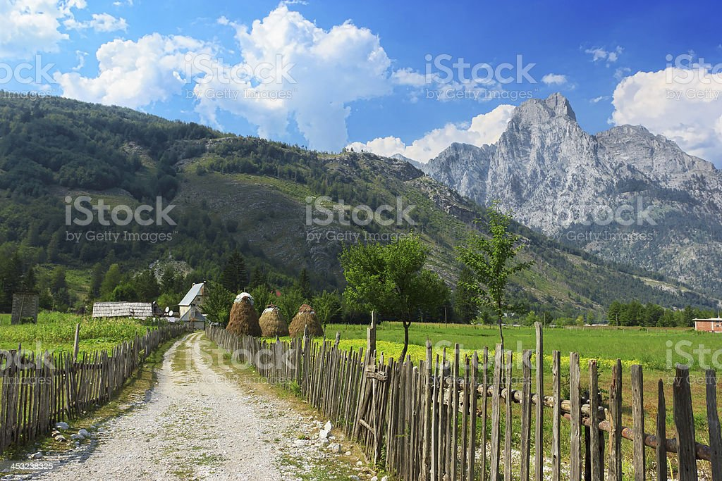 Countryside in Albanian Alps stock photo