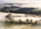 Rolling countryside in early morning mist in Wales, UK