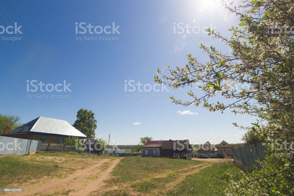Countryside in russian village in spring sunny day royalty-free stock photo