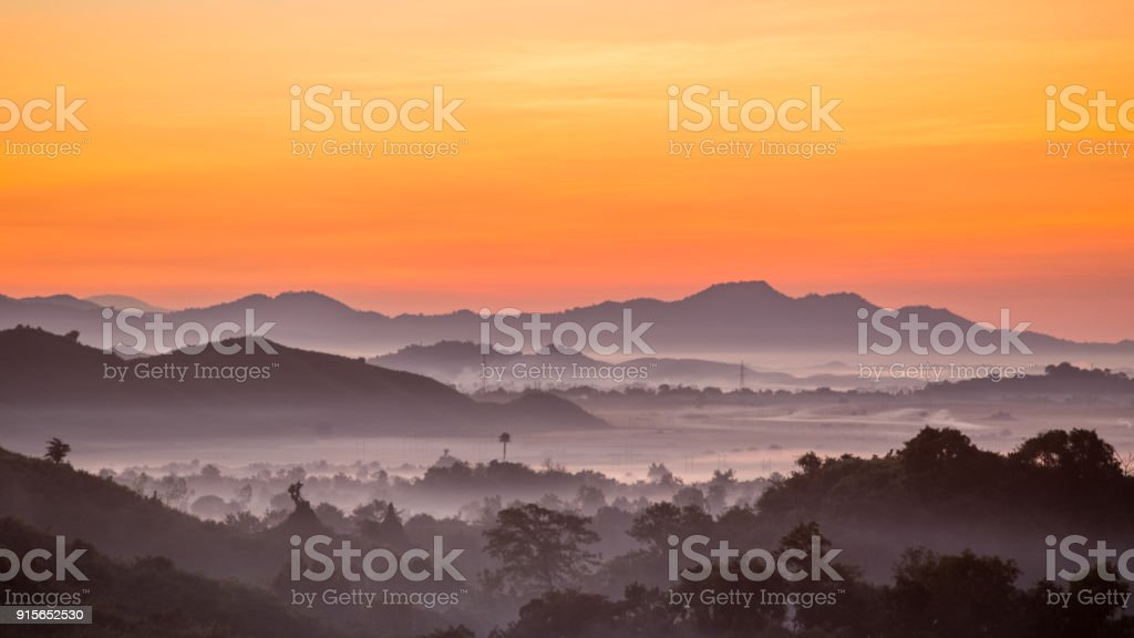 Countryside in the valley stock photo