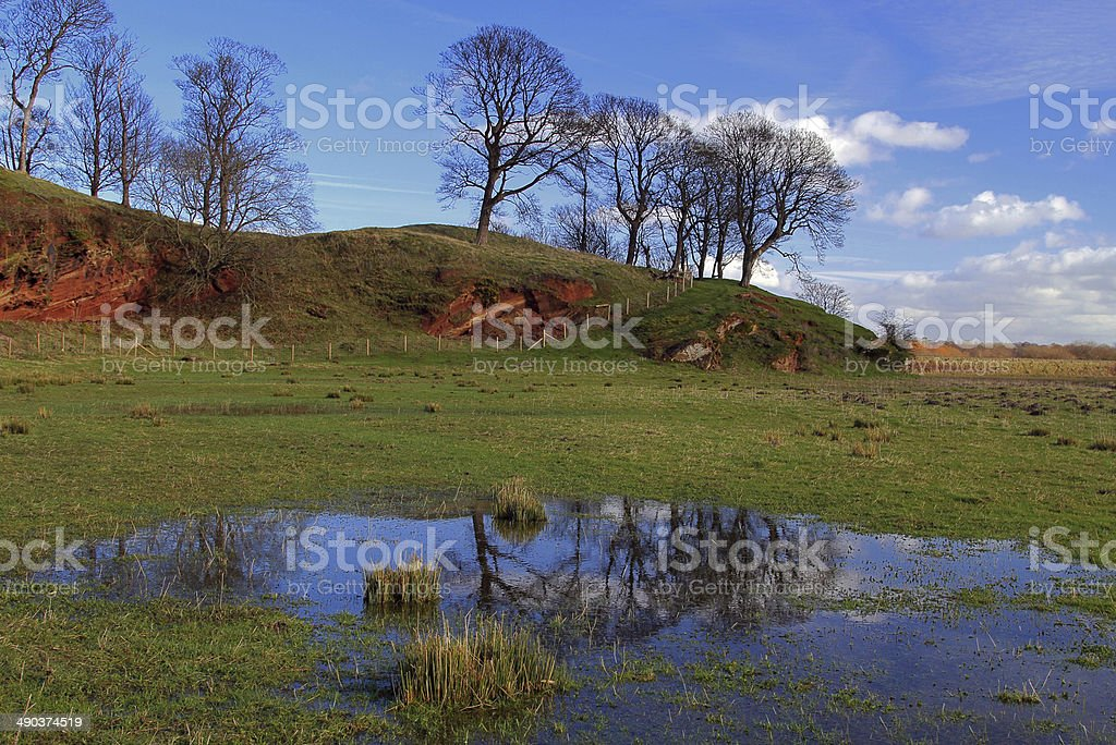 Countryside Meadow Reflection stock photo