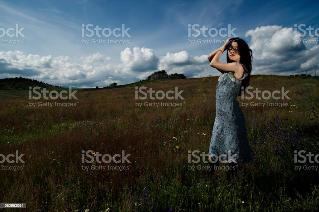 countryside portrait with young woman royalty-free stock photo