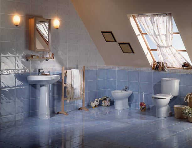 Countryside restroom A penthouse restroom grifare stock pictures, royalty-free photos & images