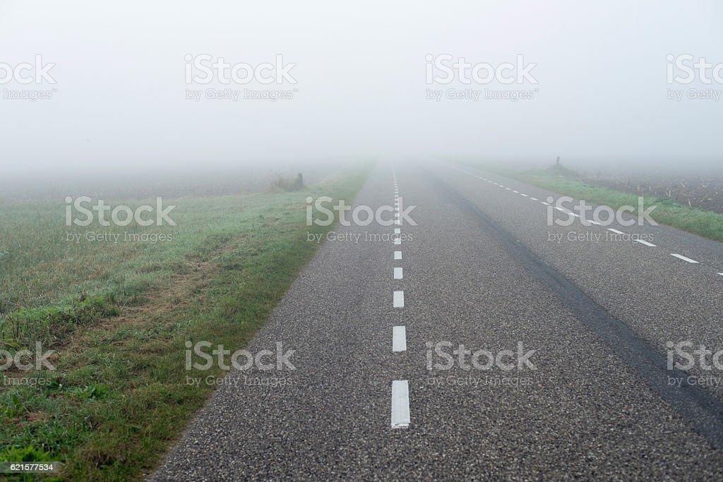 Countryside road in dense mist. Geesteren. Achterhoek. Gelderland. photo libre de droits