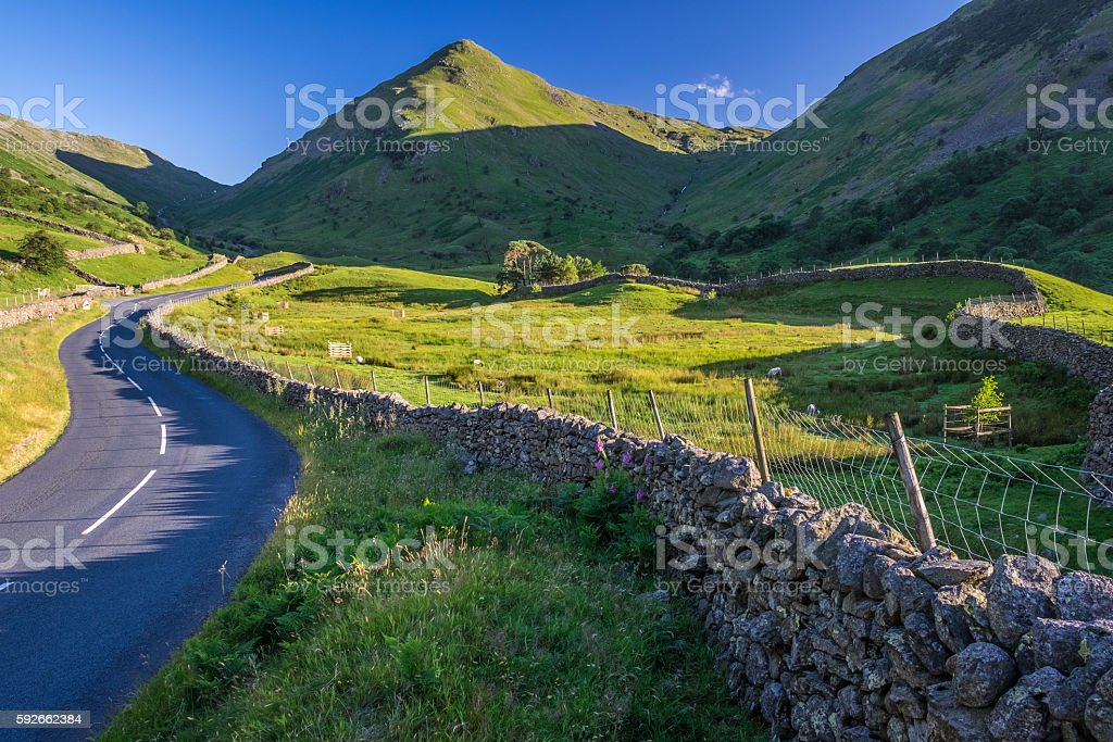 Countryside road in the mountain. stock photo