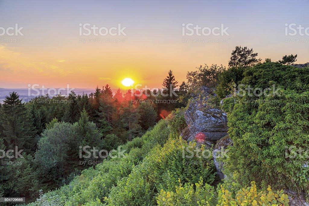 Countryside Summer Sunset Landscape stock photo