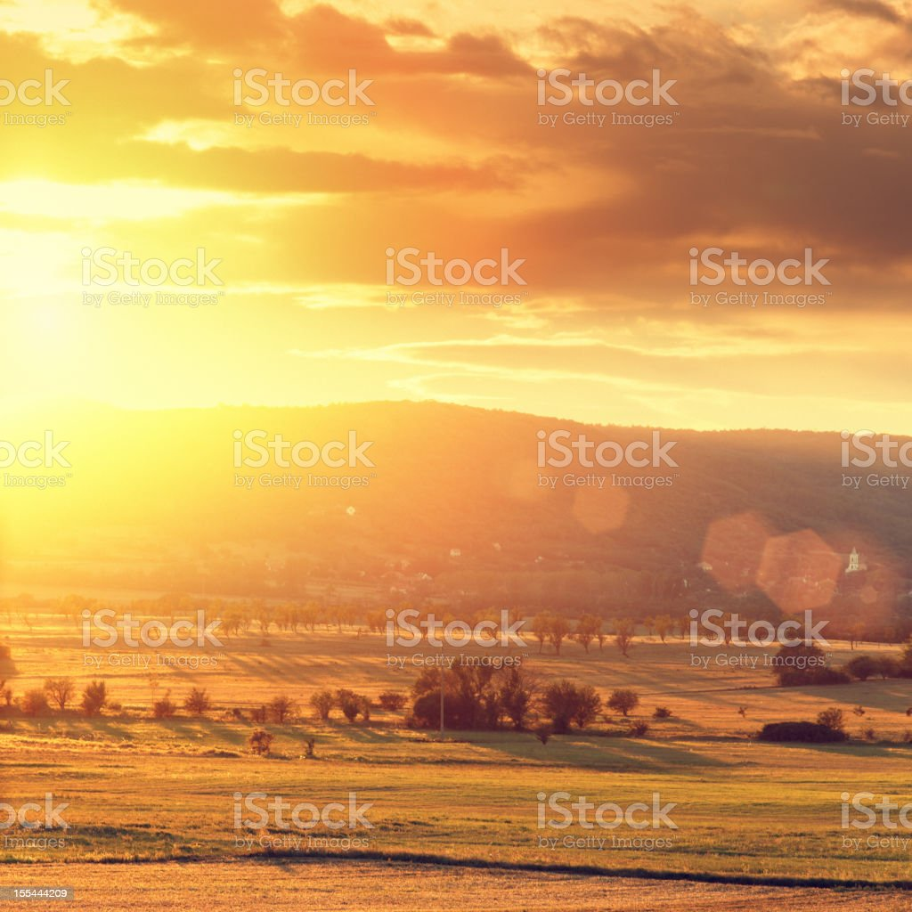 countryside sunset royalty-free stock photo