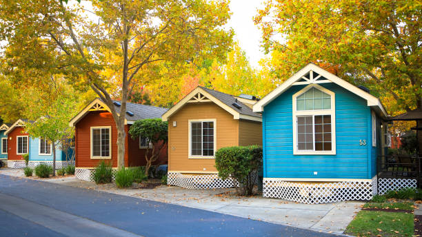 Countryside view of colored wooden buildings stock photo