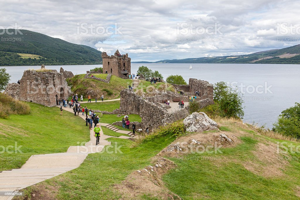 Countryside view of Urquhart Castle beside Loch Ness in UK stock photo