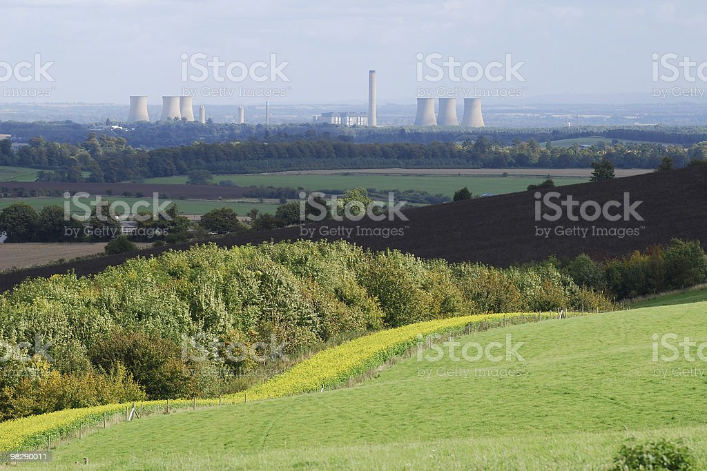 Countryside with Didcot Power Station, Oxfordshire, England royalty-free stock photo