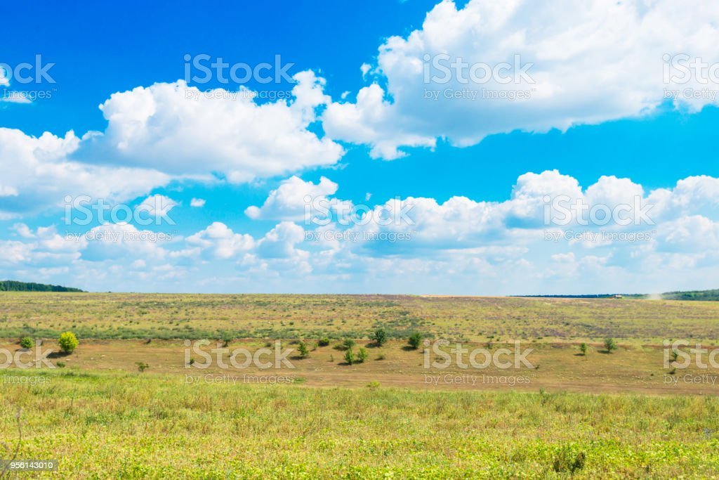 countryside with fields on the background of blue sky stock photo