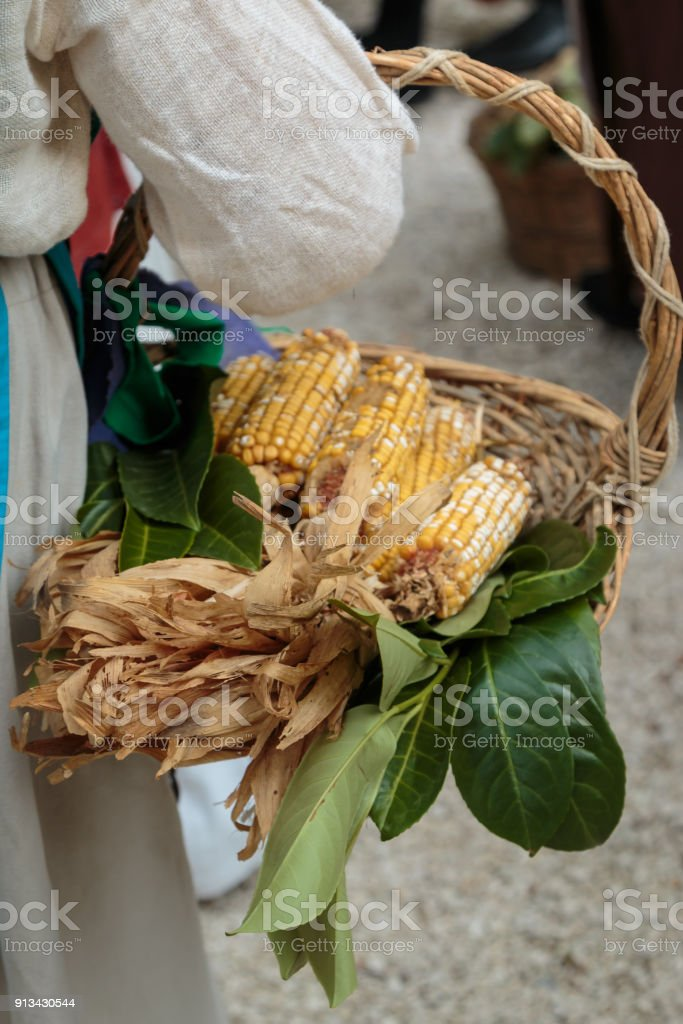 Countrywoman with Yellow Corns inside Wicker Basket stock photo