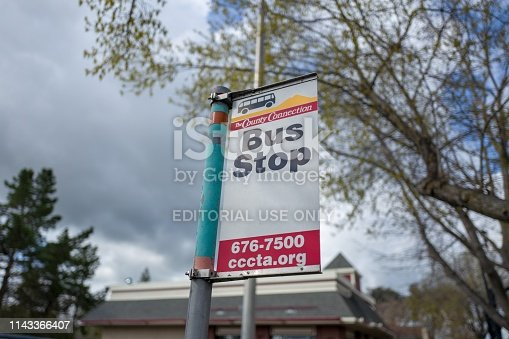Lafayette, California, United States - March 28, 2019:  Close-up of sign for Contra Costa County Connection public transit bus service at a bus stop in Lafayette, California, March 28, 2019