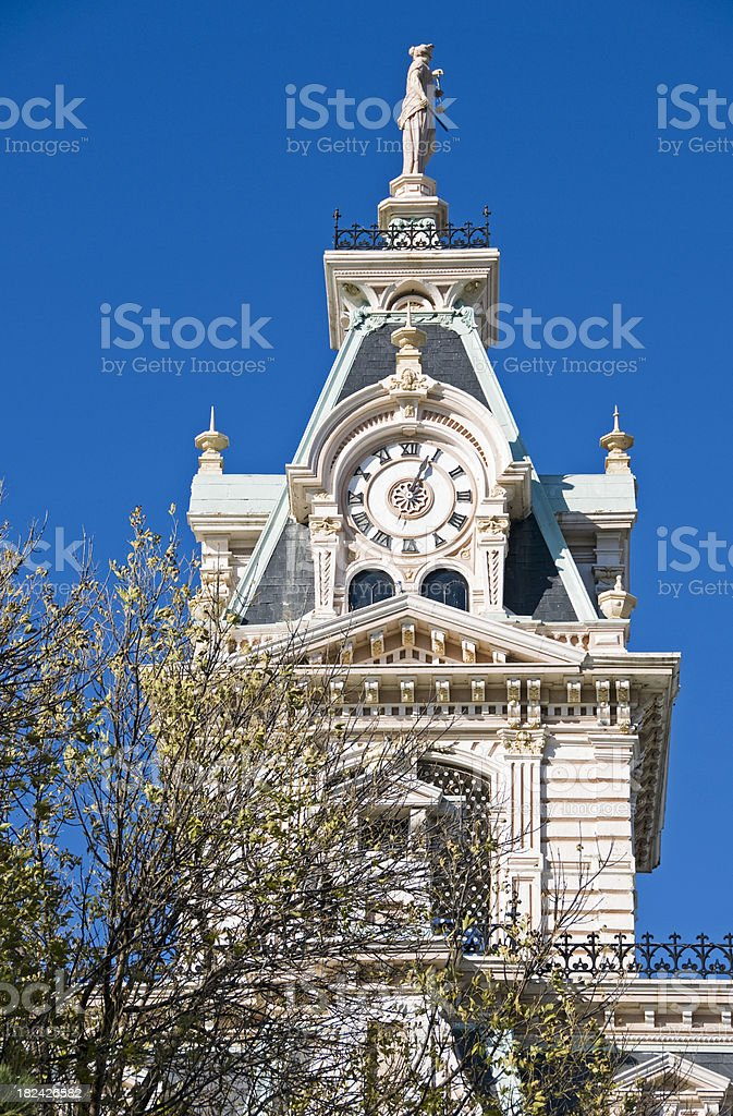 County courthouse tower and clock royalty-free stock photo