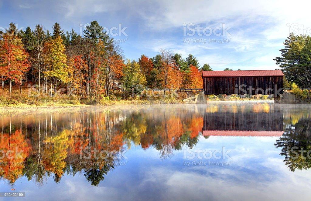 County Covered Bridge in New Hampshire stock photo