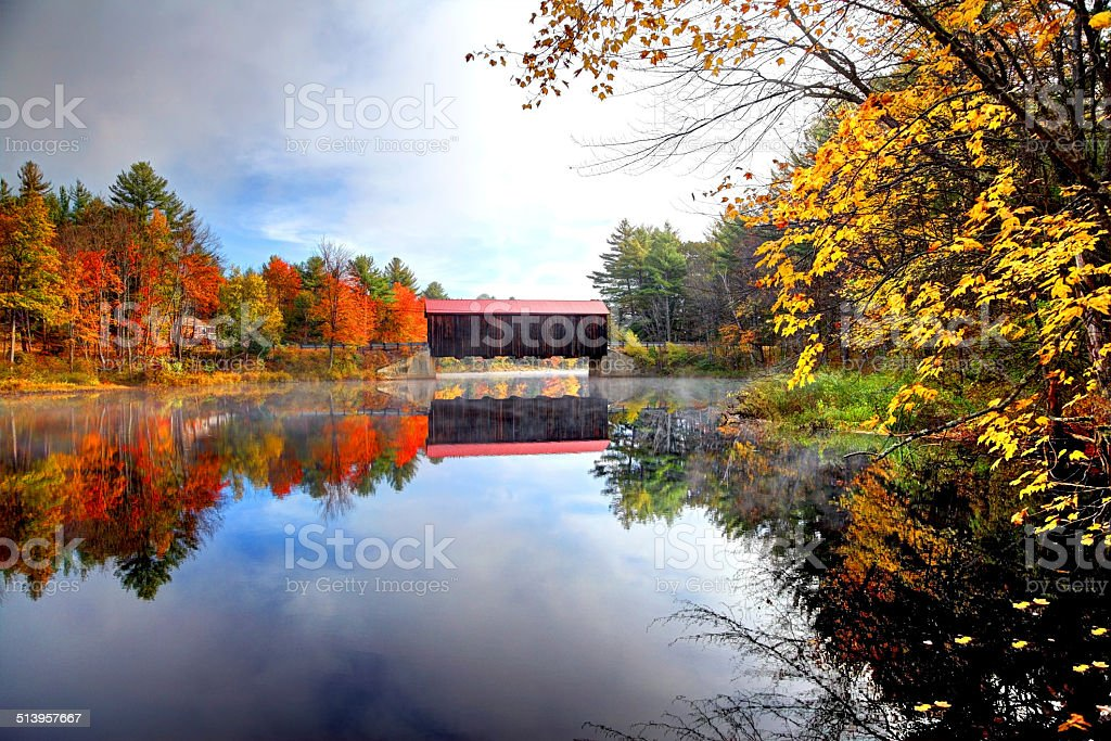 County Covered Bridge in New Hampshire stock photo