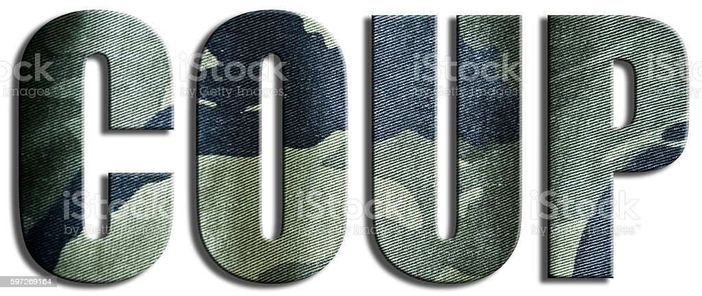Coup. Camouflage textured text. royalty-free stock photo