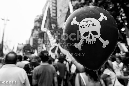 São Paulo, Brazil, September, 11, 2016: Protesters during act against the coup and calling for new elections and other social agendas for the country