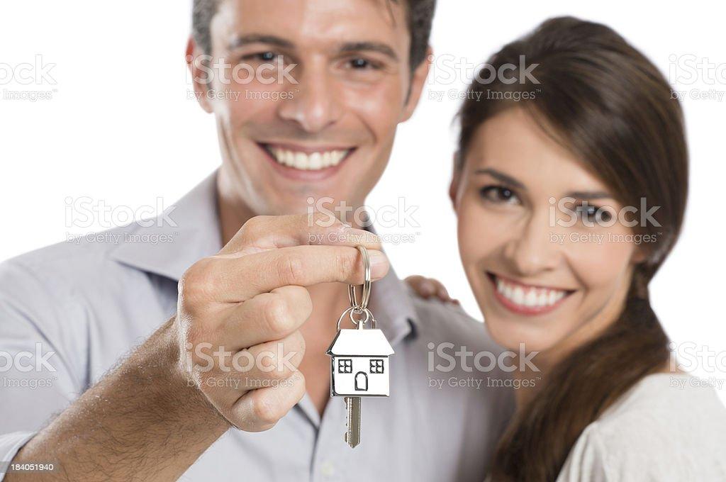 Coupe Holding House Key royalty-free stock photo