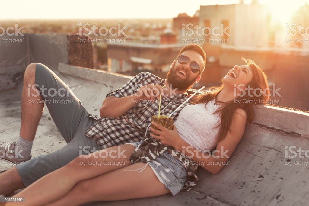Coupe on a rooftop party stock photo