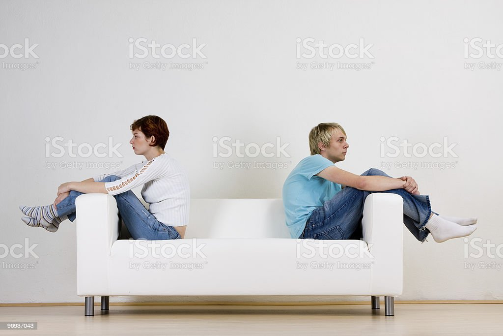 Couple after fight royalty-free stock photo