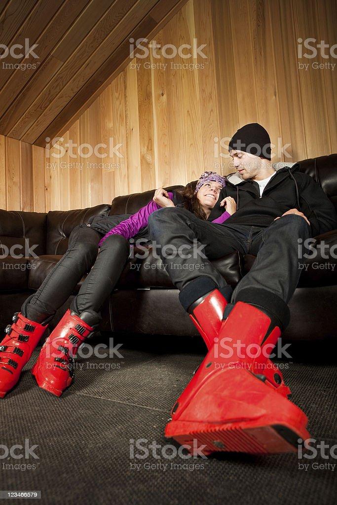 Couple apres ski royalty-free stock photo
