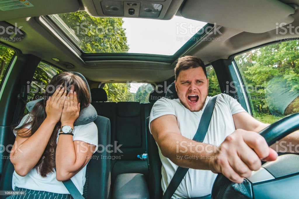couple all most get car accident. not safe driving stock photo