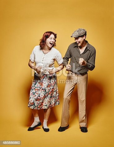 Couple and 70's look theme, yellow background