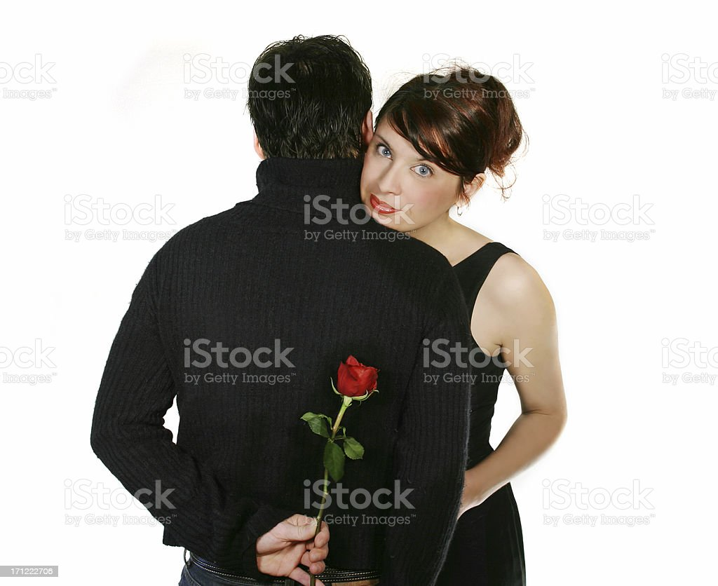 Couple and a rose royalty-free stock photo