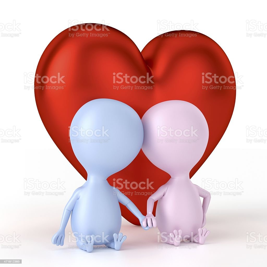 Couple And Big Heart royalty-free stock photo