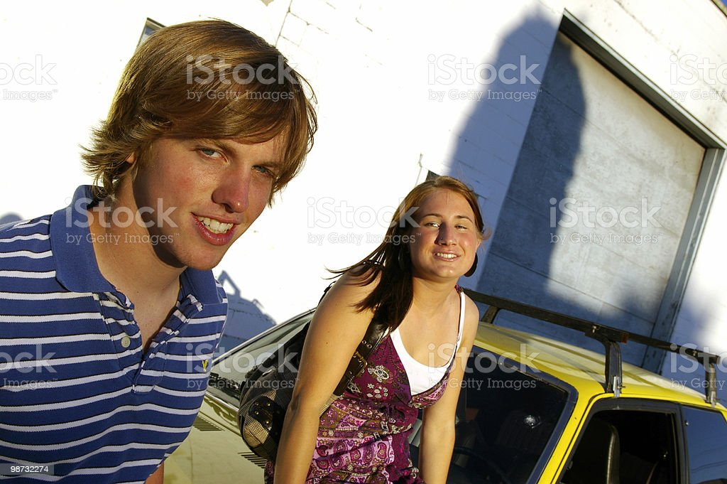 Couple and Car royalty free stockfoto
