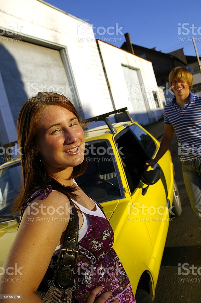 Couple and Car royalty-free stock photo