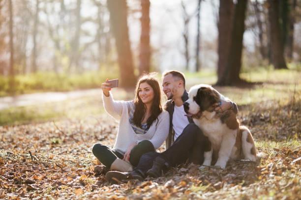 ehepaar und hund im park - zum totlachen stock-fotos und bilder